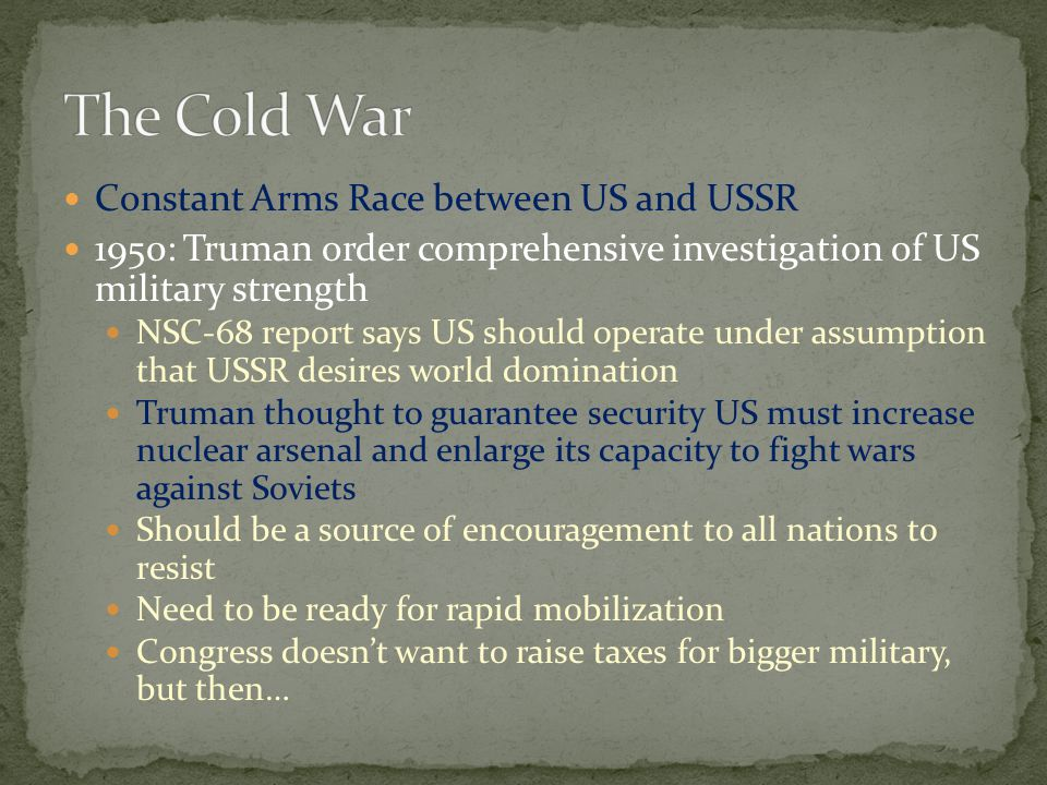 The Cold War Constant Arms Race between US and USSR