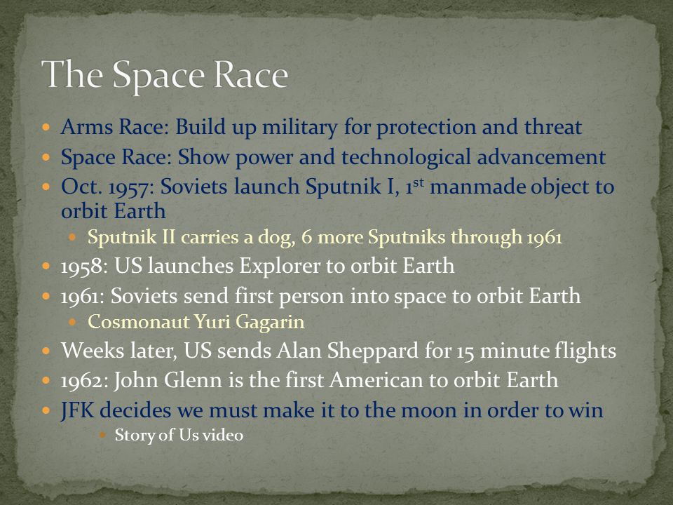 The Space Race Arms Race: Build up military for protection and threat