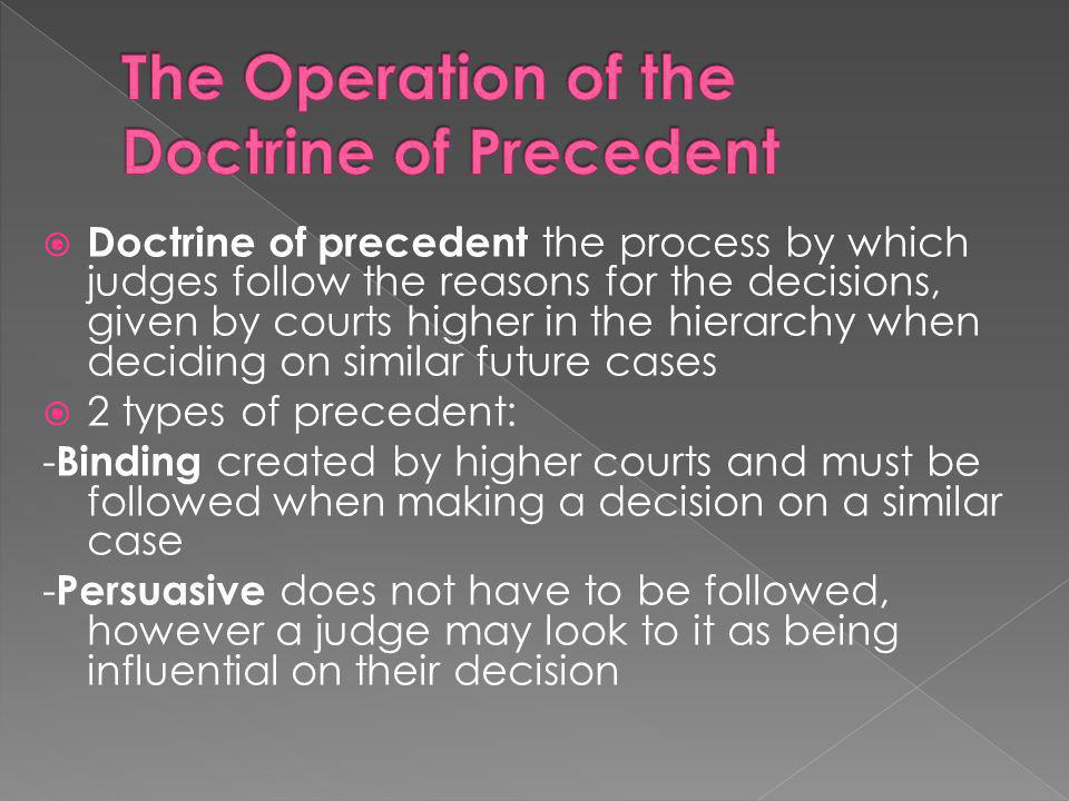 The Operation of the Doctrine of Precedent