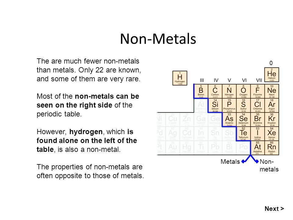 Non-Metals The are much fewer non-metals than metals. Only 22 are known, and some of them are very rare.