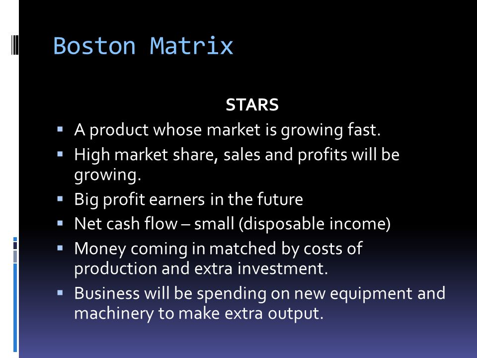 Boston Matrix STARS A product whose market is growing fast.
