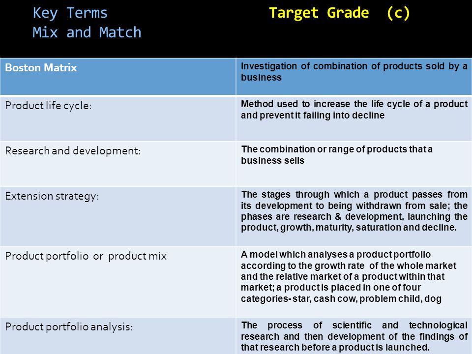 Key Terms Target Grade (c) Mix and Match
