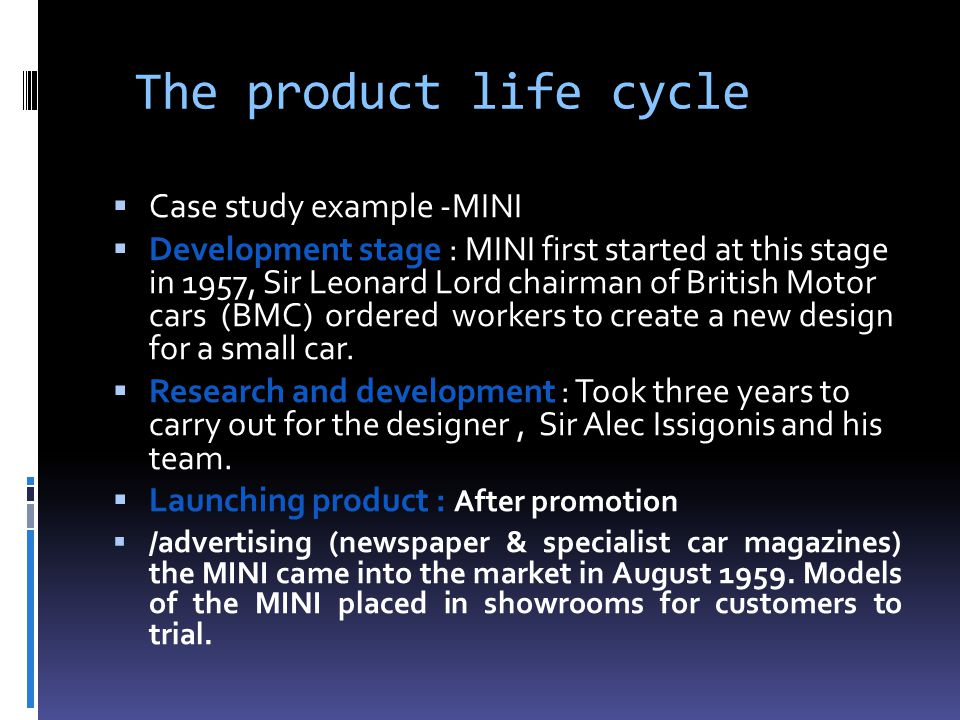 The product life cycle Case study example -MINI