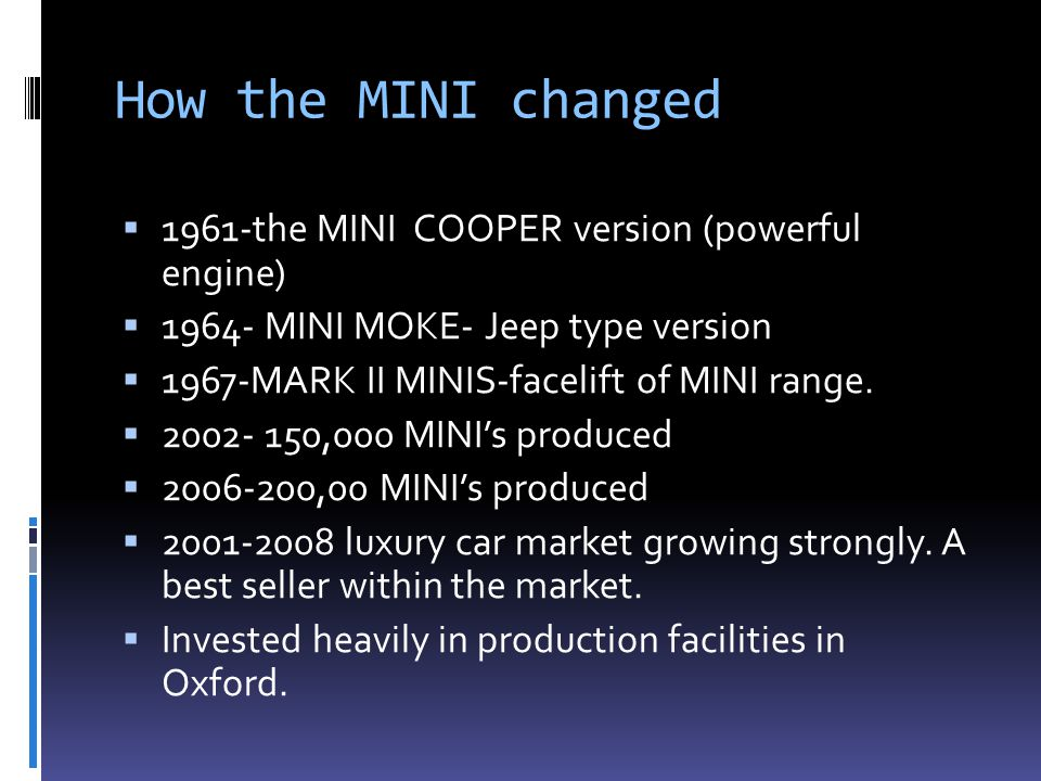 How the MINI changed 1961-the MINI COOPER version (powerful engine)