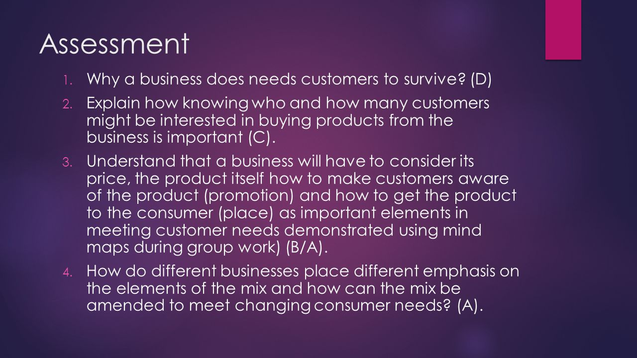 Assessment Why a business does needs customers to survive (D)