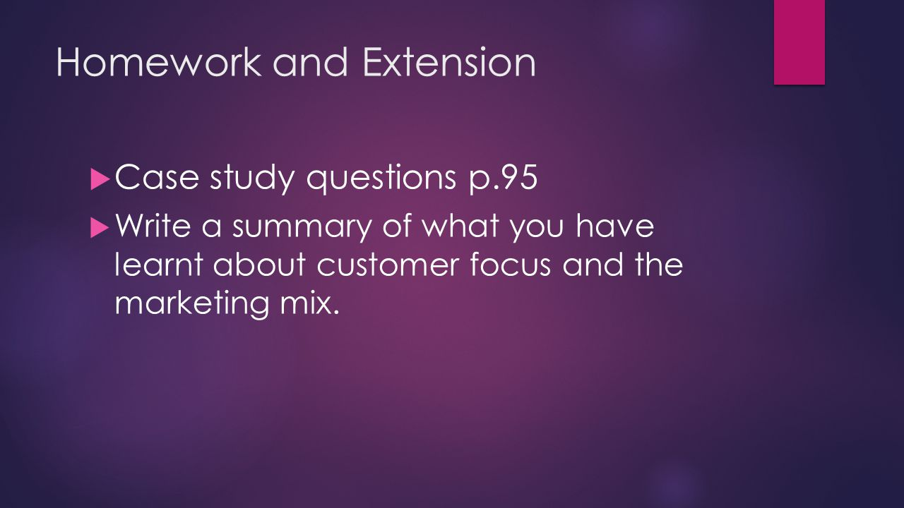 marketing mix case study questions There's a few lessons that can be learned from these integrated marketing case studies one of those being that it doesn't matter if you mix up the media within your campaign, in fact it's largely positive, you just have to ensure that there is brand consistency across the entire roll out.