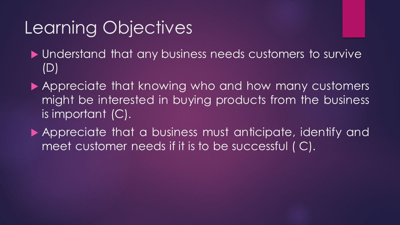 Learning Objectives Understand that any business needs customers to survive (D)