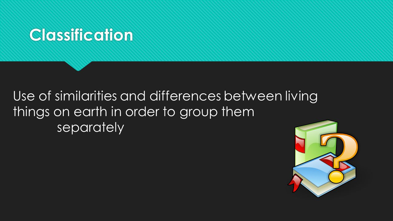 Classification Use of similarities and differences between living things on earth in order to group them separately.