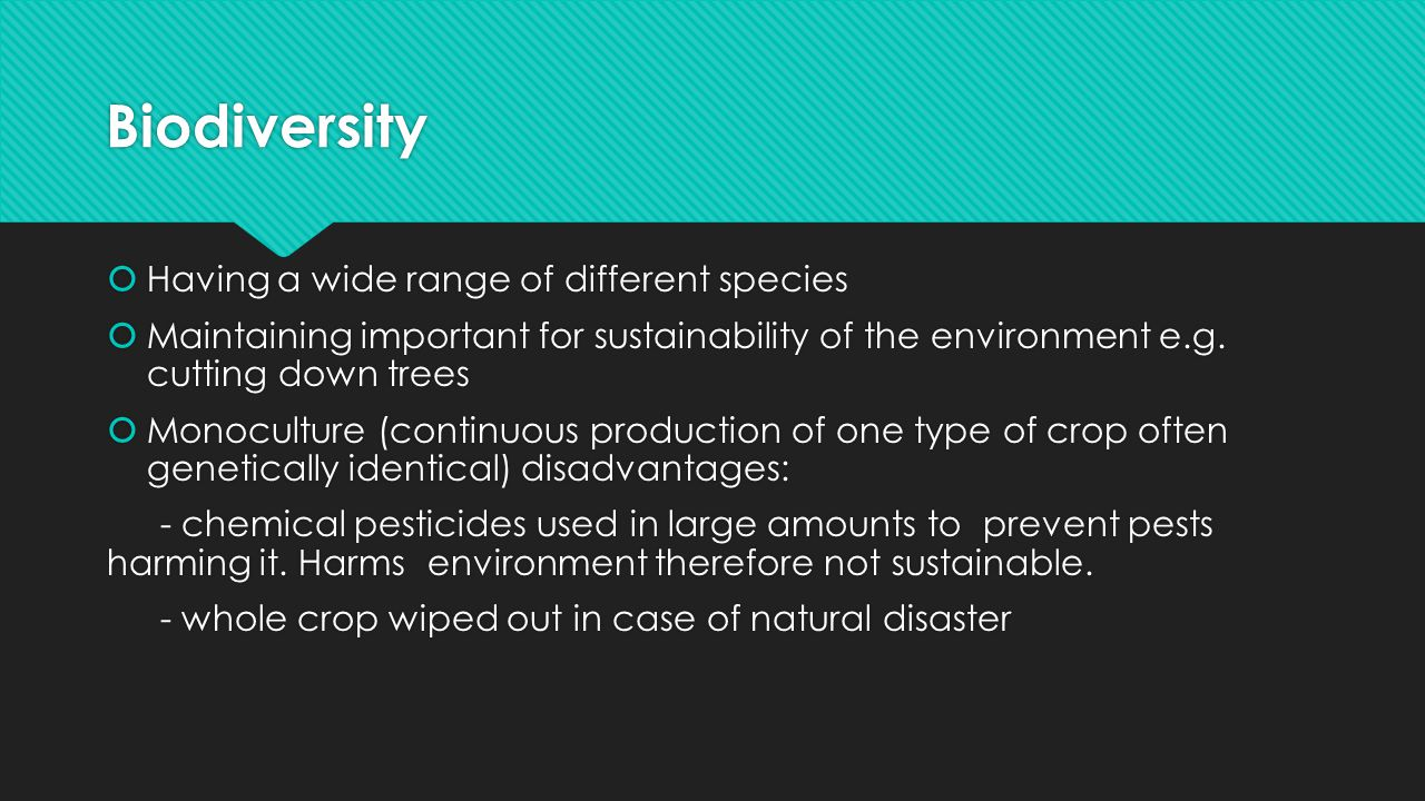 Biodiversity Having a wide range of different species