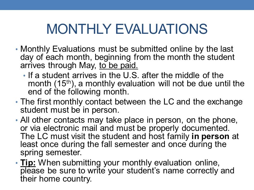 MONTHLY EVALUATIONS