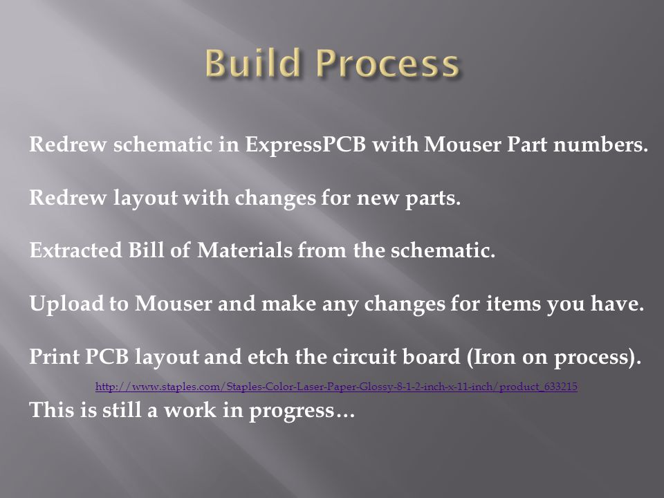 Build Process Redrew schematic in ExpressPCB with Mouser Part numbers.