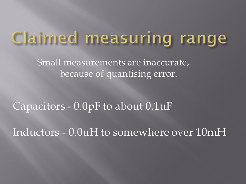 Claimed measuring range
