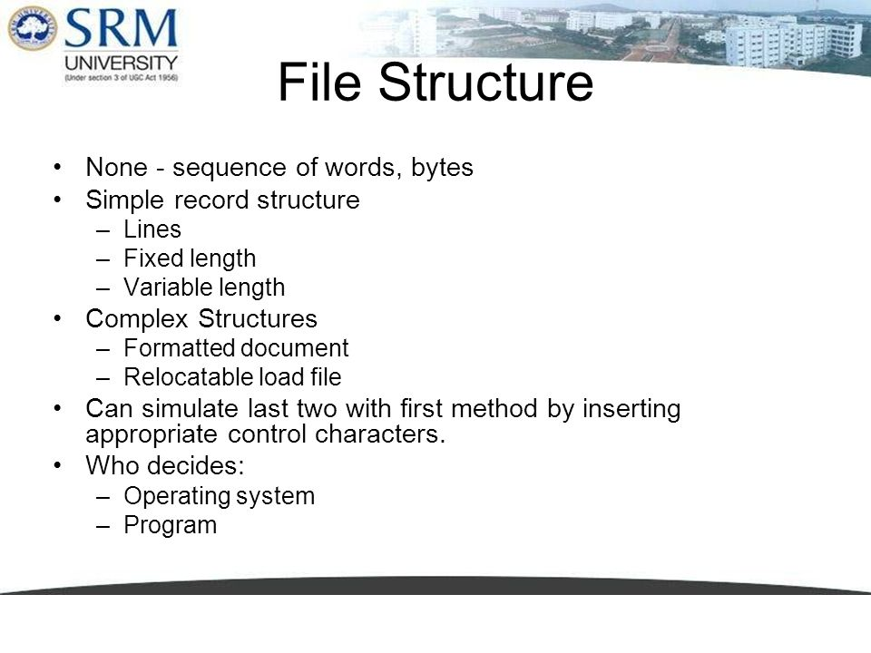 File Structure None - sequence of words, bytes Simple record structure