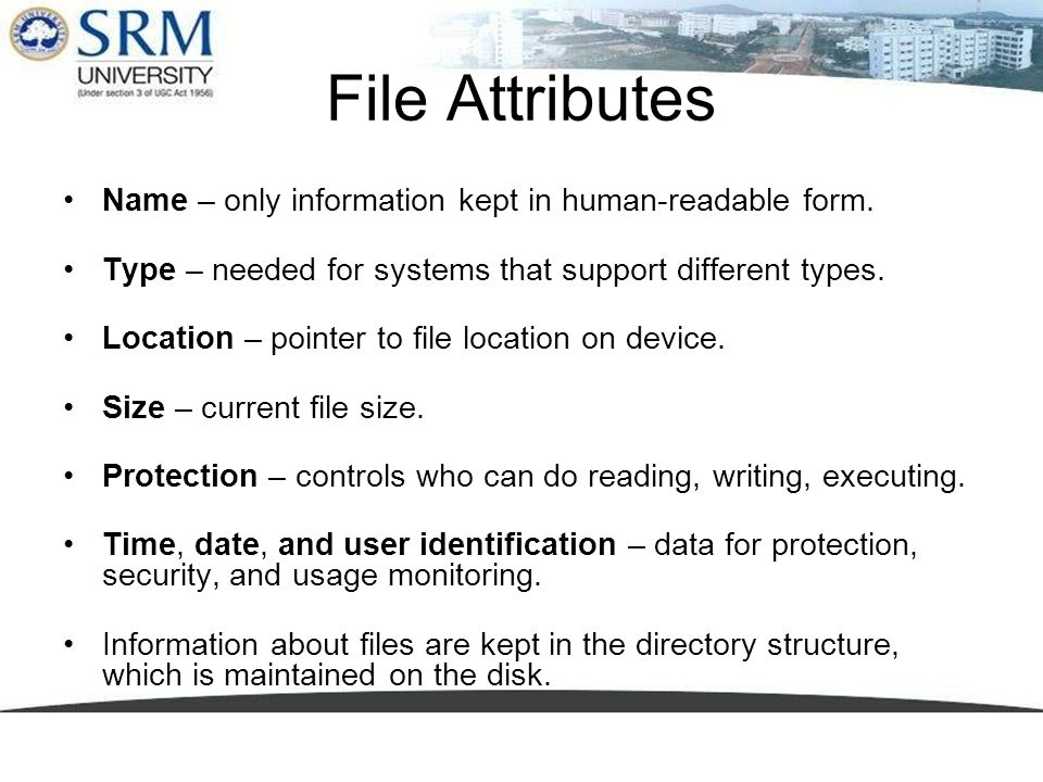 File Attributes Name – only information kept in human-readable form.
