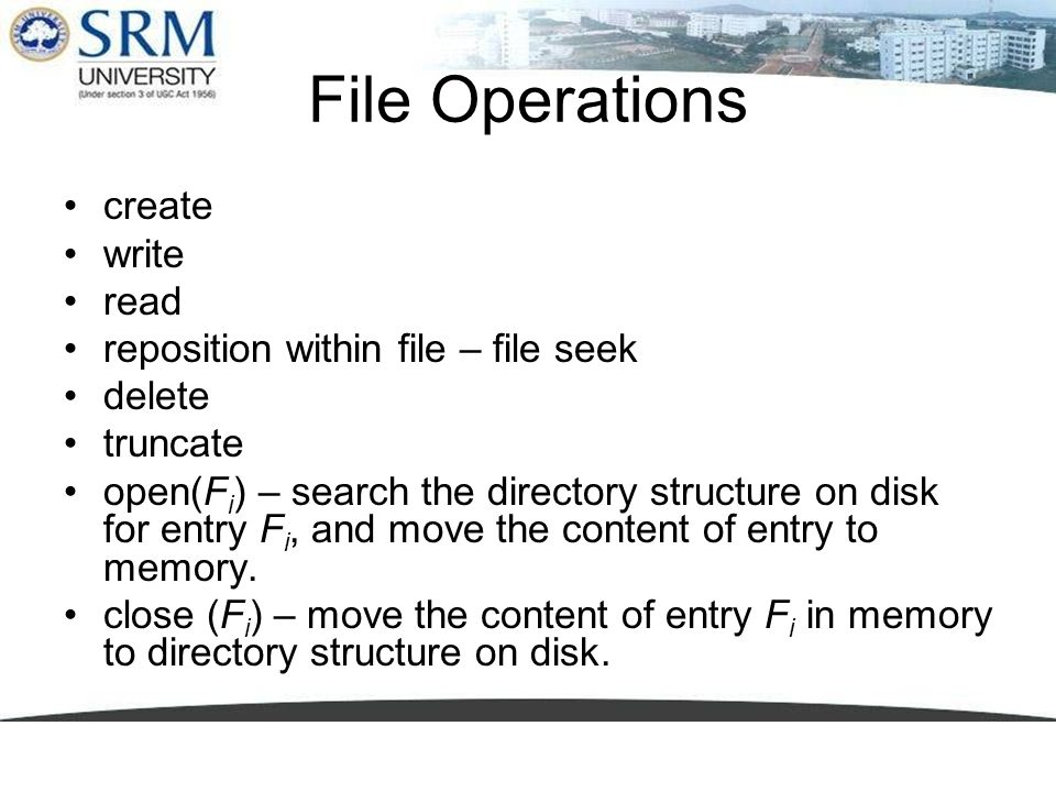 File Operations create write read reposition within file – file seek