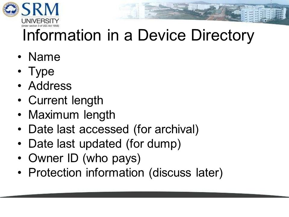 Information in a Device Directory