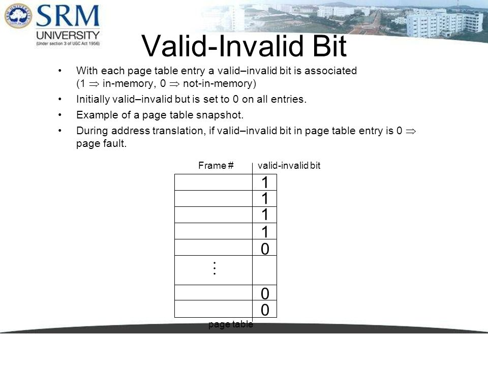 Valid-Invalid Bit With each page table entry a valid–invalid bit is associated (1  in-memory, 0  not-in-memory)