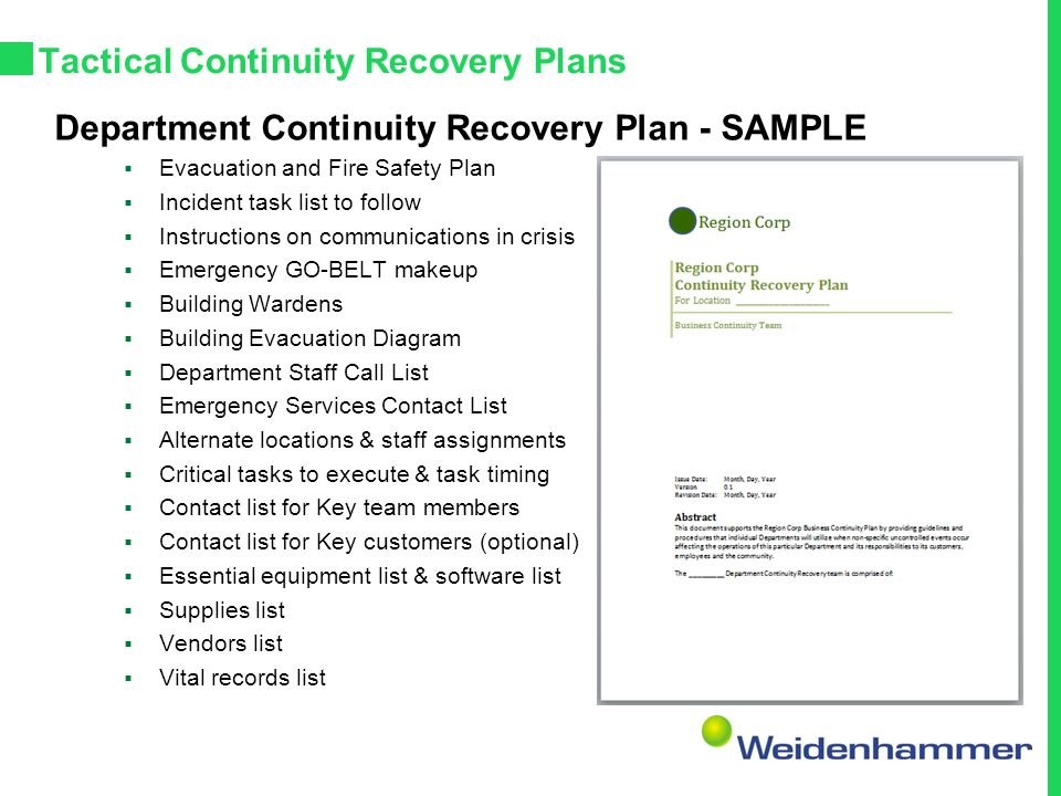 Tactical Continuity Recovery Plans