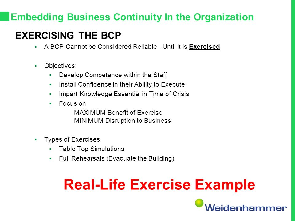 Embedding Business Continuity In the Organization