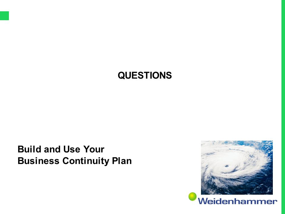 Build and Use Your Business Continuity Plan