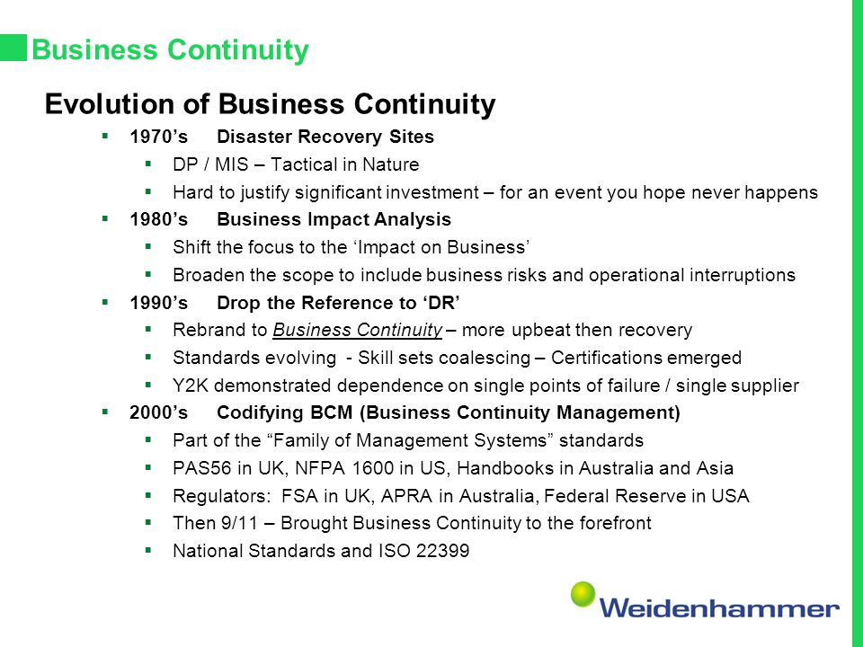 Evolution of Business Continuity