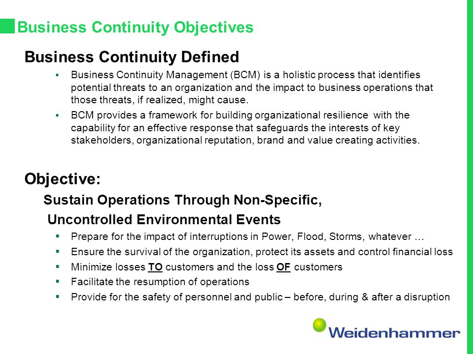 Business Continuity Objectives