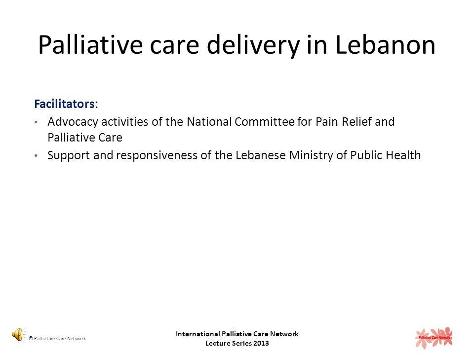 Palliative care delivery in Lebanon