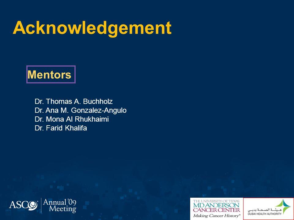 Acknowledgement Mentors Dr. Thomas A. Buchholz