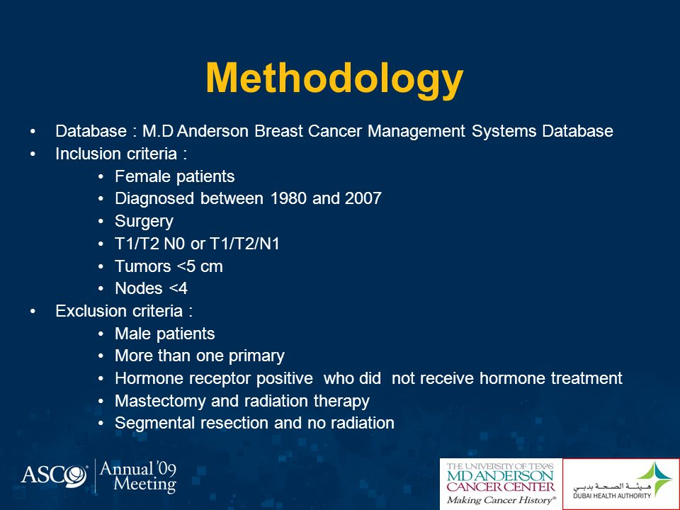 Methodology Database : M.D Anderson Breast Cancer Management Systems Database. Inclusion criteria :