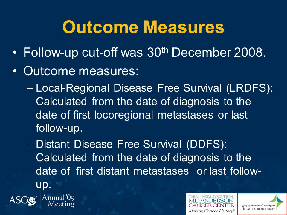 Outcome Measures Follow-up cut-off was 30th December 2008.