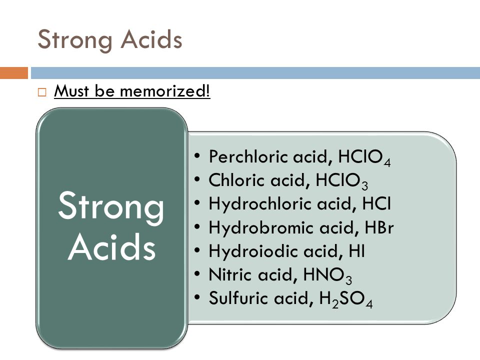 Strong Acids Must be memorized! Strong Acids Perchloric acid, HClO4