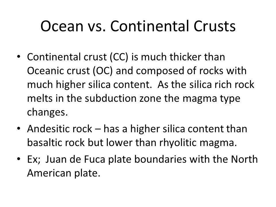 Ocean vs. Continental Crusts