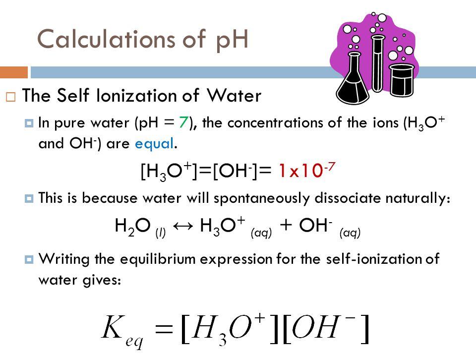 H2O (l) ↔ H3O+ (aq) + OH- (aq)