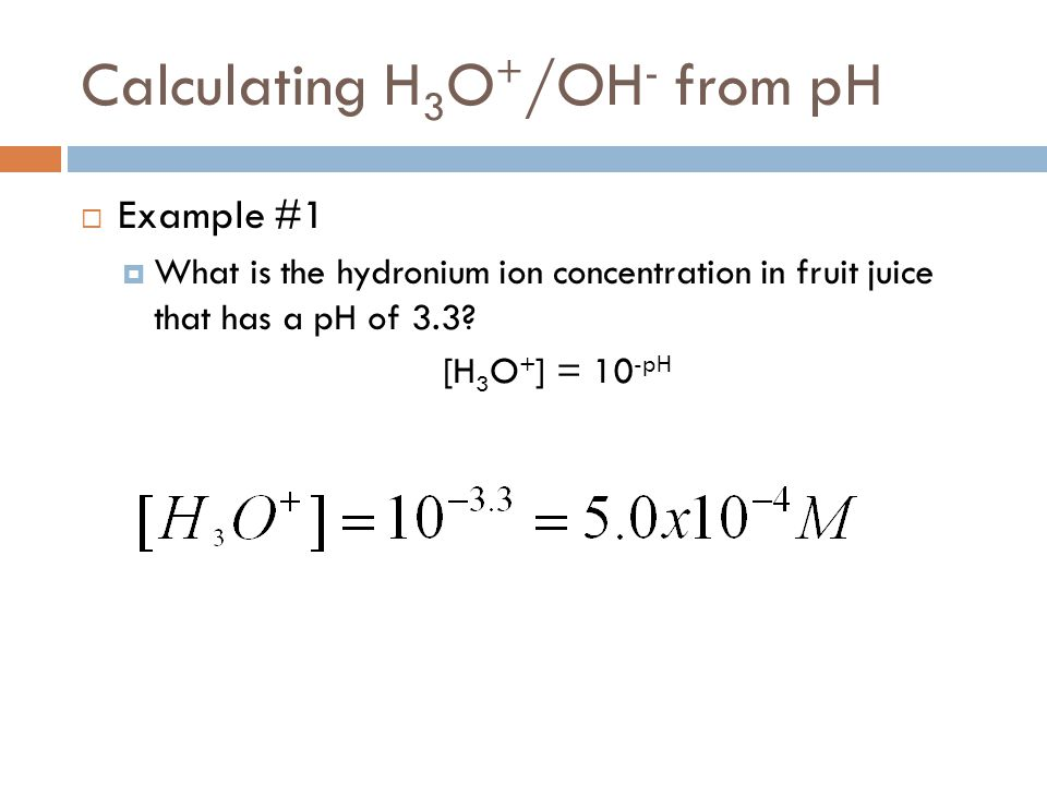 Calculating H3O+/OH- from pH