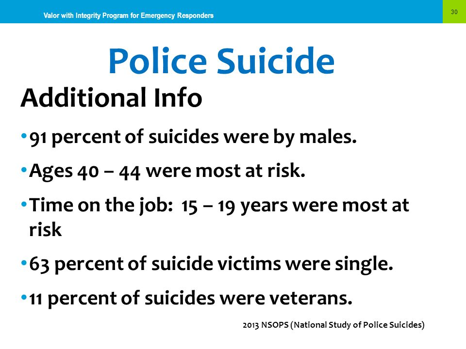 Police Suicide Additional Info 91 percent of suicides were by males.