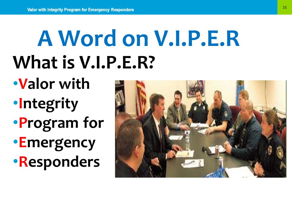 A Word on V.I.P.E.R What is V.I.P.E.R Valor with Integrity