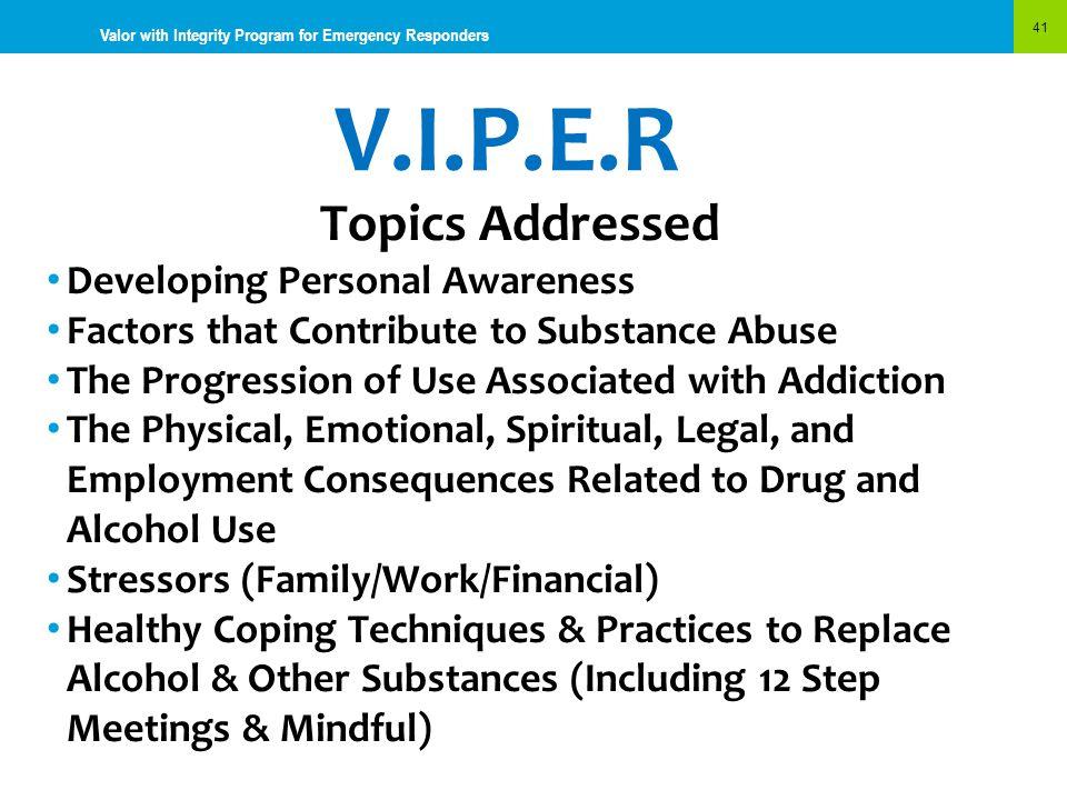 V.I.P.E.R Topics Addressed Developing Personal Awareness