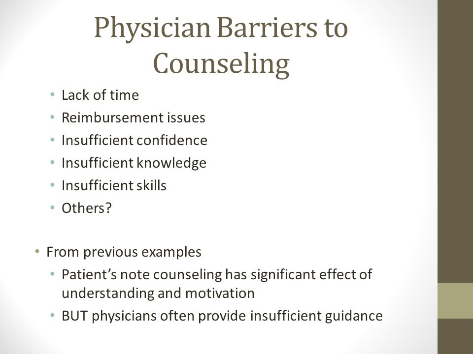 Physician Barriers to Counseling