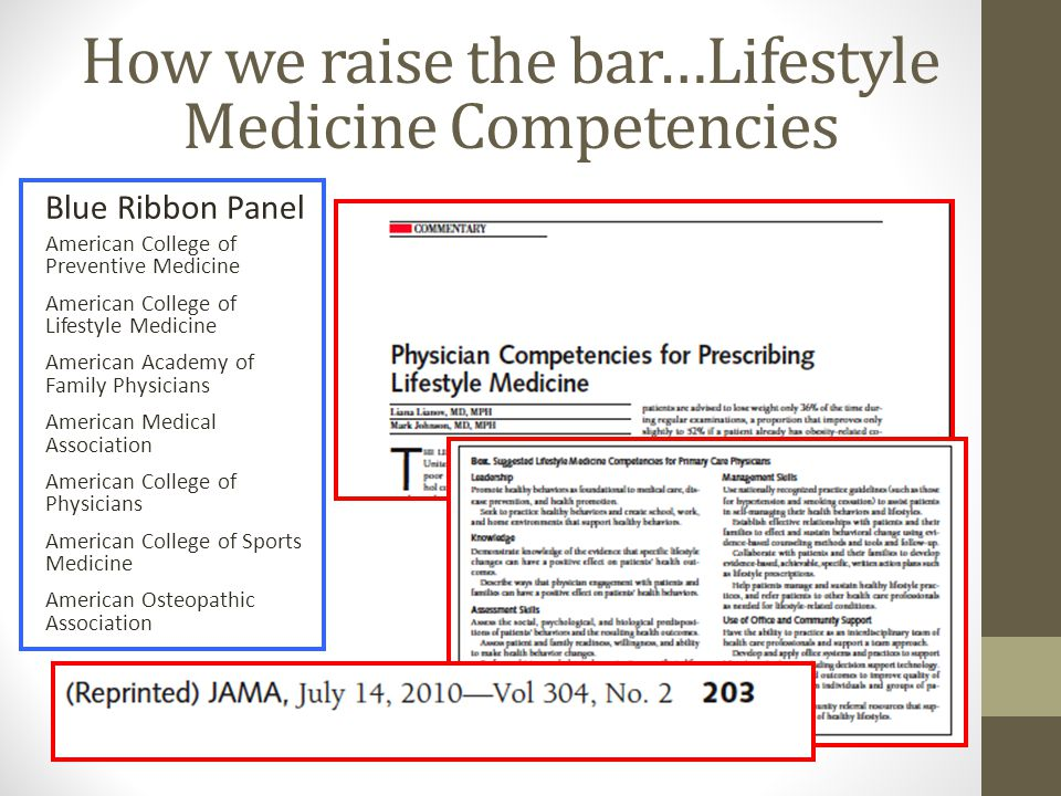 How we raise the bar…Lifestyle Medicine Competencies