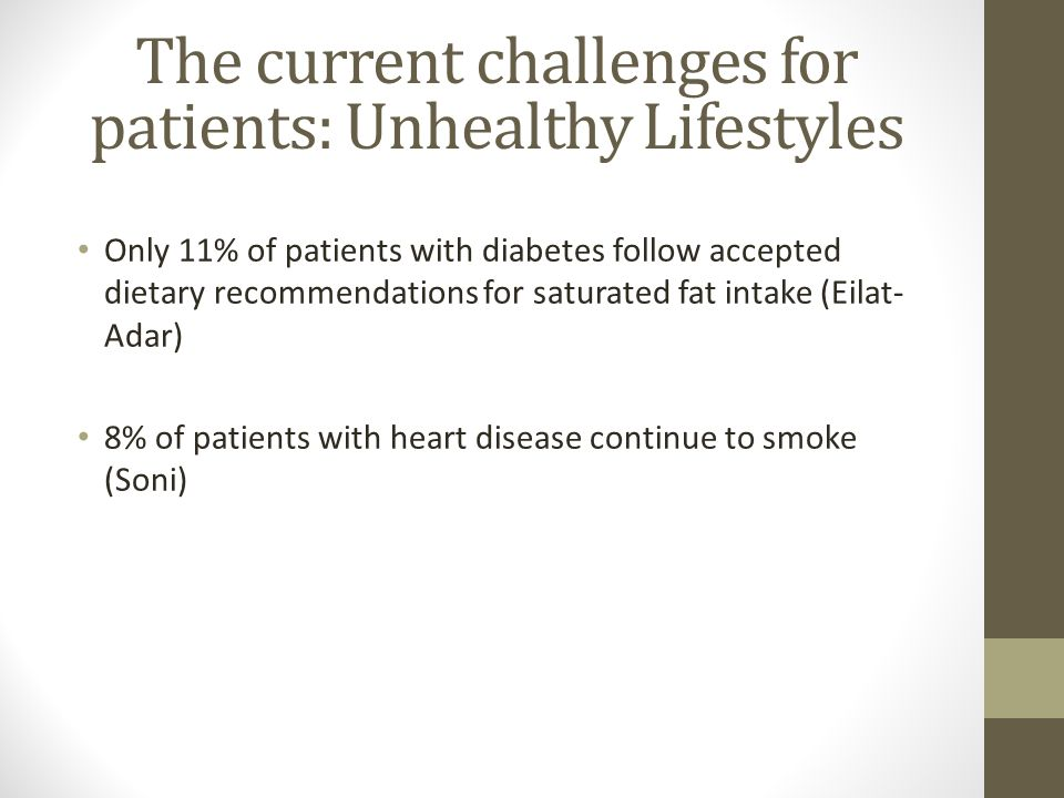 The current challenges for patients: Unhealthy Lifestyles