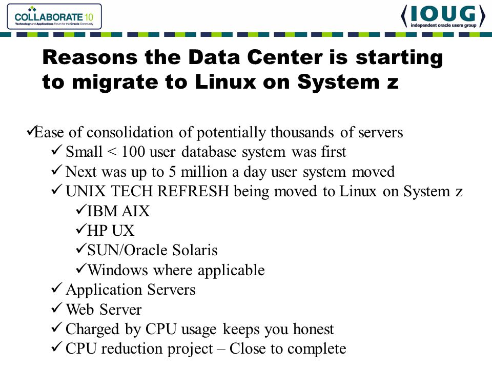 Reasons the Data Center is starting to migrate to Linux on System z