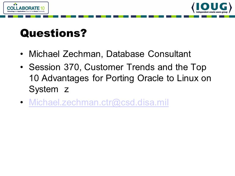 Questions Michael Zechman, Database Consultant