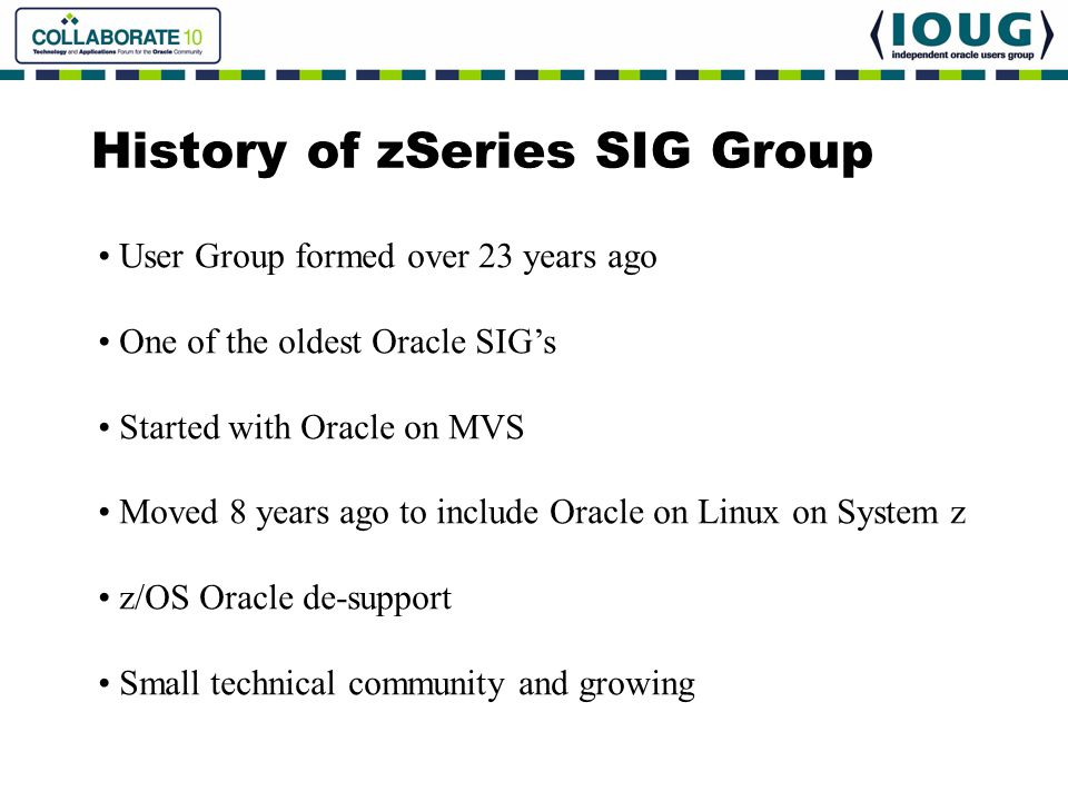 History of zSeries SIG Group