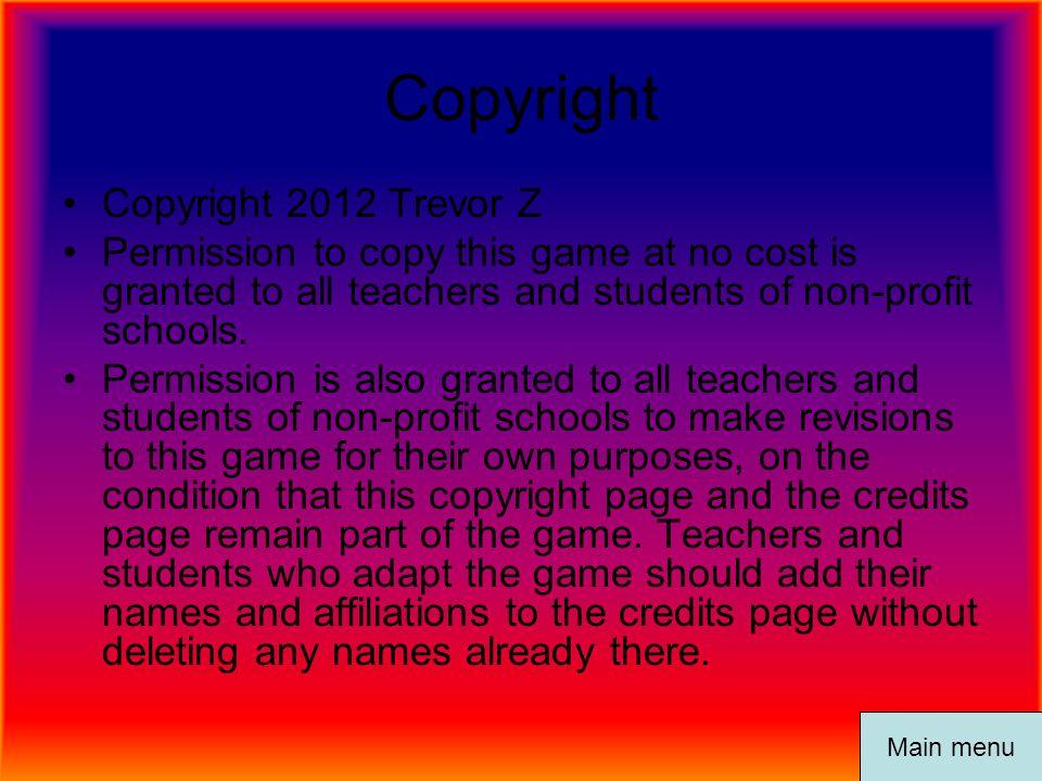 Copyright Copyright 2012 Trevor Z