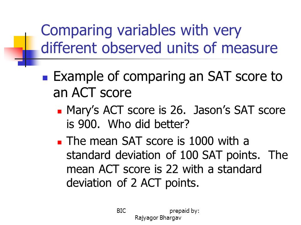 Comparing variables with very different observed units of measure