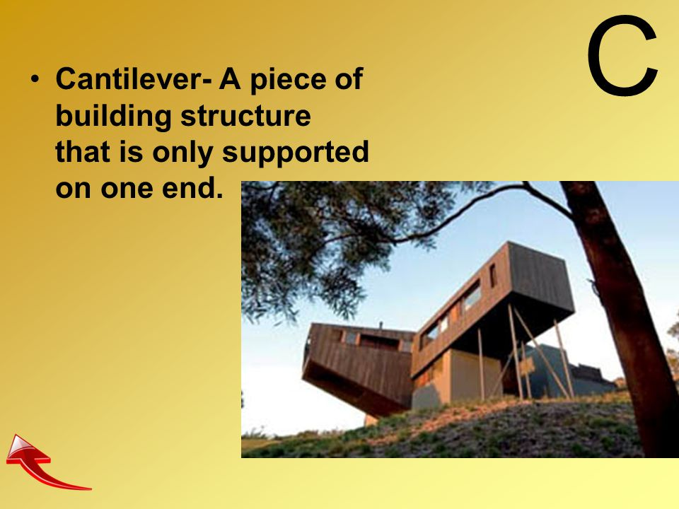C Cantilever- A piece of building structure that is only supported on one end.