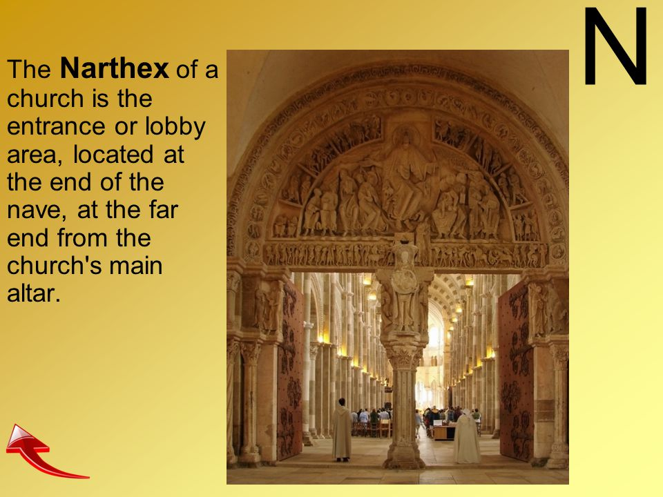 N The Narthex of a church is the entrance or lobby area, located at the end of the nave, at the far end from the church s main altar.