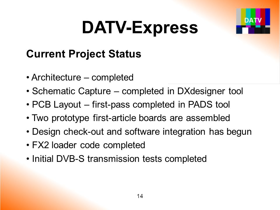 DATV-Express Current Project Status Architecture – completed