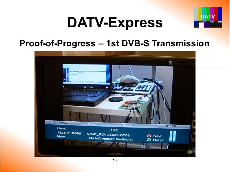 DATV-Express Proof-of-Progress – 1st DVB-S Transmission 17