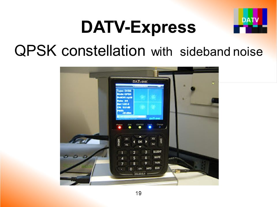 DATV-Express QPSK constellation with sideband noise 19